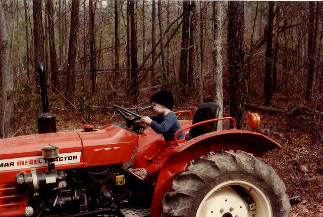 Michael on a tractor